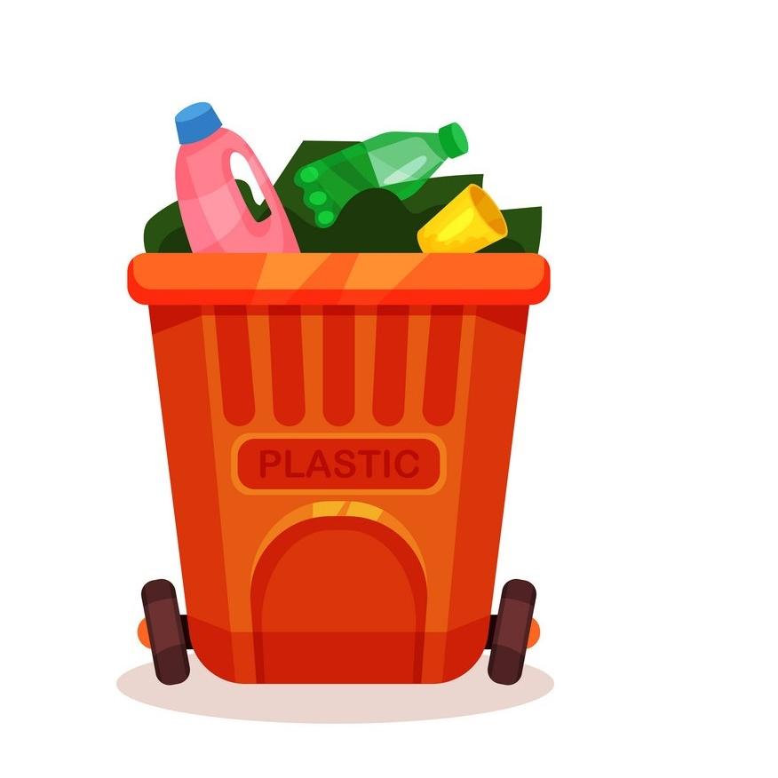 Colorful icon of garbage bin with plastic waste. Empty bottles and cup in orange container. Trash sorting theme. Element for infographic or information poster. Isolated flat vector illustration.